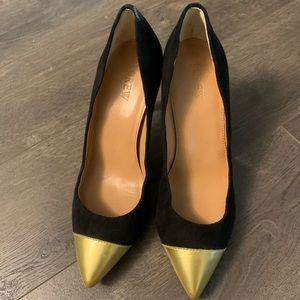 J. Crew gold toed black heels